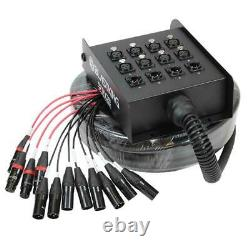 25 Ft XLR Audio Snake Stage Cable Box 8 Female Channel by 4 Male Returns