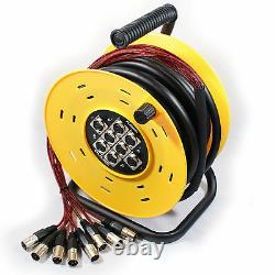 25m 8 Way XLR Male to Female Multicore Drum Cable Audio Loom Stage Snake Reel