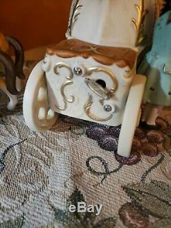 Antique Cinderella Horse Carriage Ball Stage Coach Night Music Box 21NEW