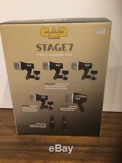 CAD Stage 7 Seven-Piece Premium Dynamic Drum Mic Pack Set Stage7 New In Box