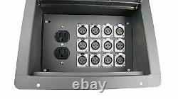 Elite Core Stage Recessed Floor Box with12 XLR Female Mic Connectors & AC Outlet