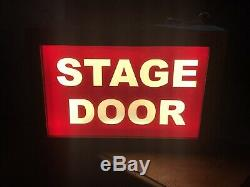 Handcrafted STAGE DOOR Bespoke Sign in Red, Wooden Light Box Sign, Home Vintage