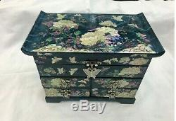 Korea Mother of Pearl Wood Black 3stage Oriental Treasure Jewelry Ring Box UK