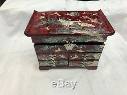 Korean Mother of Pearl Wood Red 3-stage Oriental Treasure Jewelry Ring Box
