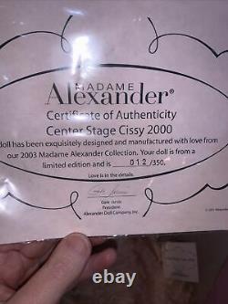 Madame Alexander Center Stage Cissy 21 Ltd Ed Of 350 With Box & Coa 2003 Nib