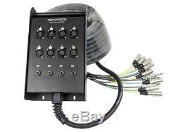 Monoprice 12-Channel Snake & 8 XLR x 4 TRS Stage Box 50ft -Metal-Body Connectors