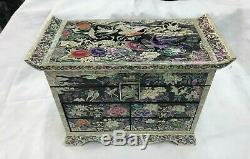Mother of Pearl Wood Deluxe 3 stage Oriental Treasure Mirror Jewelry Box UK