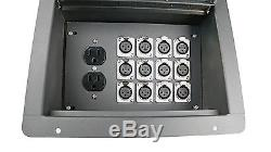 Recessed Stage Audio Floor Box with 12 XLR Mic Connectors & AC Outlets Elite Core