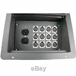 Recessed hinged lid in floor pocket stage box XLR MALE FEMALE AC CAT 5 ETHERNET