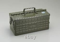 TOYO Steel Two-Stage Tool Box ST-350MG Military Green Carpentry 340x160x170 (mm)