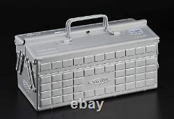 TOYO Steel Two-Stage Tool Box ST-350SV Silver Carpentry Japan 340x160x170 (mm)