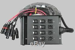 XLR Mic Audio Stage Snake Cable Box 8x4x50 8 Channels x 4 Returns 50' Ft 15.24 M