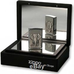 ZIPPO ON STAGE ELEPHANT BRUSHED CHROME EMBLEM LIGHTER in MIRROR BOX