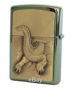 Zippo Lighter Golden Gator Alligator On Stage Limited Holzbox New OVP B16